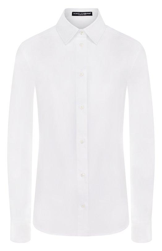Приталенная хлопковая блуза Dolce &amp; GabbanaБлузы<br><br><br>Российский размер RU: 46<br>Пол: Женский<br>Возраст: Взрослый<br>Размер производителя vendor: 44<br>Материал: Хлопок: 97%; Эластан: 3%;<br>Цвет: Белый