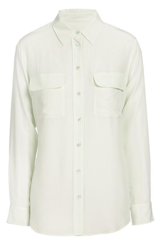 Шелковая блуза прямого кроя с накладными карманами EquipmentБлузы<br>Удлиненная прямая блуза из тонкого полупрозрачного шелка вошла в осенне-зимнюю коллекцию 2016 года. Светло-зеленая модель с отложным воротником и длинными рукавами дополнена двумя нагрудными карманами. Нам нравится сочетать с голубыми джинсами, белоснежными сабо и розовой сумкой.<br><br>Российский размер RU: 44<br>Пол: Женский<br>Возраст: Взрослый<br>Размер производителя vendor: M<br>Материал: Шелк: 100%;<br>Цвет: Светло-зеленый