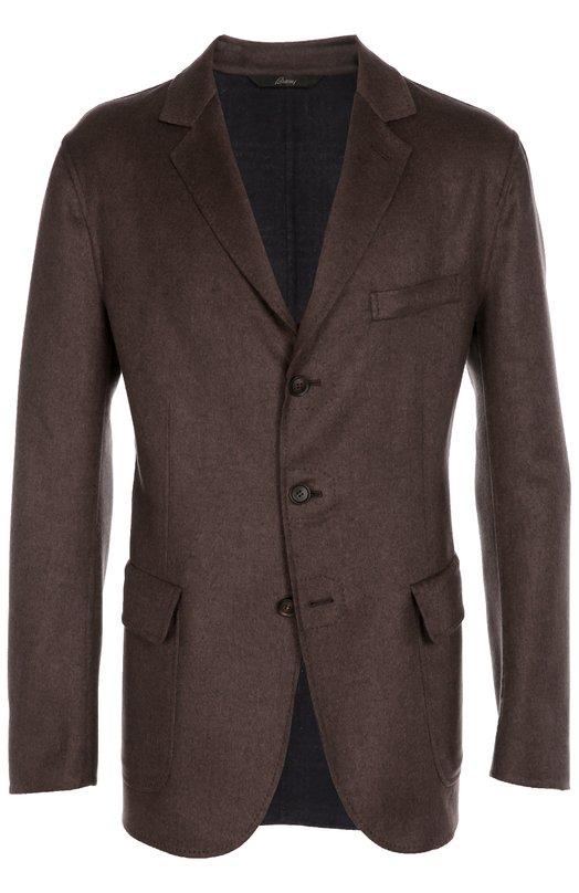 Однобортный пиджак из смеси шерсти и кашемира с шелком Brioni SGLP/05AAB