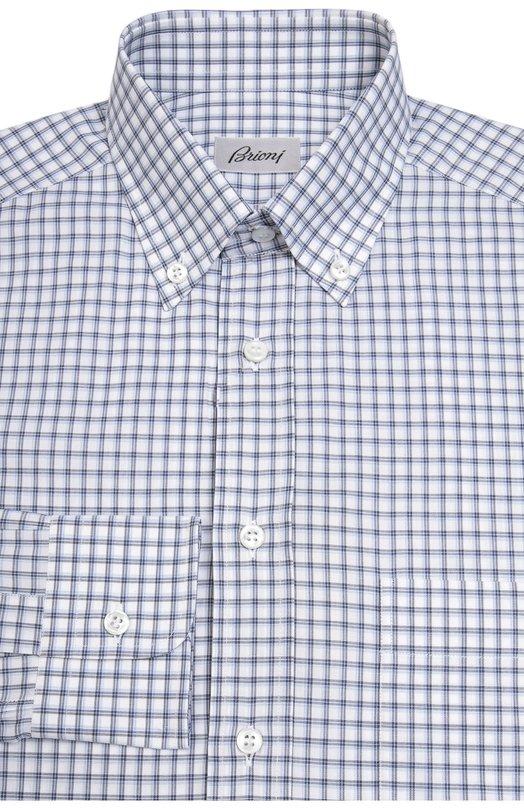 Хлопковая рубашка в клетку BrioniРубашки<br>В коллекцию сезона осень-зима 2016 года вошла рубашка из тонкого клетчатого хлопка. Модель дополнена воротником button down. Рекомендуем носить с темно-синим пиджаком, меланжевым галстуком, темно-серыми брюками и черными ботинками.<br><br>Российский размер RU: 50<br>Пол: Мужской<br>Возраст: Взрослый<br>Размер производителя vendor: L<br>Материал: Хлопок: 100%;<br>Цвет: Синий