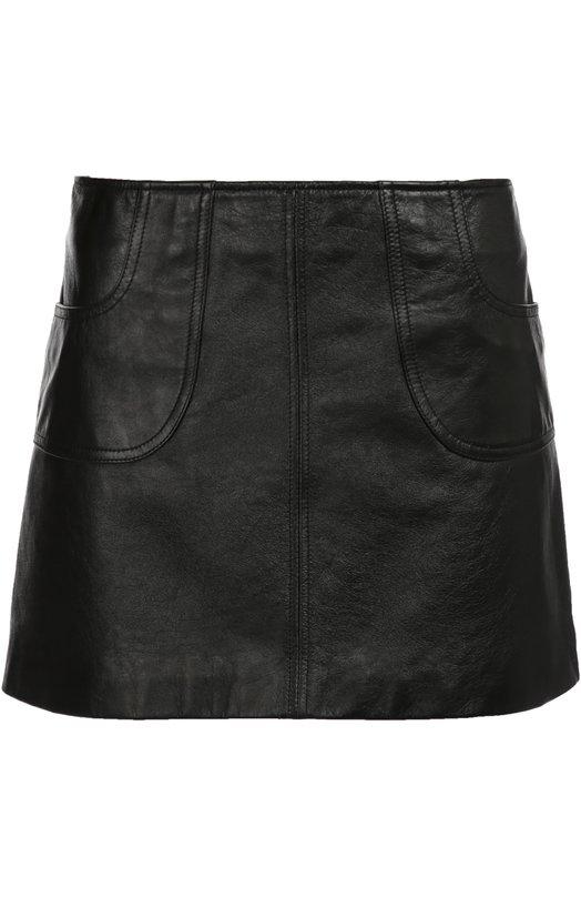 Кожаная мини-юбка с карманами Saint Laurent 440269/Y5QQ2