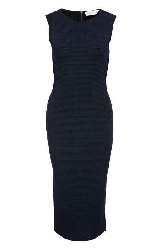 Платье-футляр на молнии с круглым вырезом Victoria BeckhamПлатья<br>Виктория Бекхэм включила вязаное крючком платье-футляр без рукавов в коллекцию сезона осень-зима 2016 года. Облегающая темно-синяя модель, выполненная из мягкой пряжи на основе вискозы, застегивается сзади на двойную позолоченную молнию.<br><br>Российский размер RU: 44<br>Пол: Женский<br>Возраст: Взрослый<br>Размер производителя vendor: 2<br>Материал: Вискоза: 59%; Полиэстер: 41%;<br>Цвет: Синий