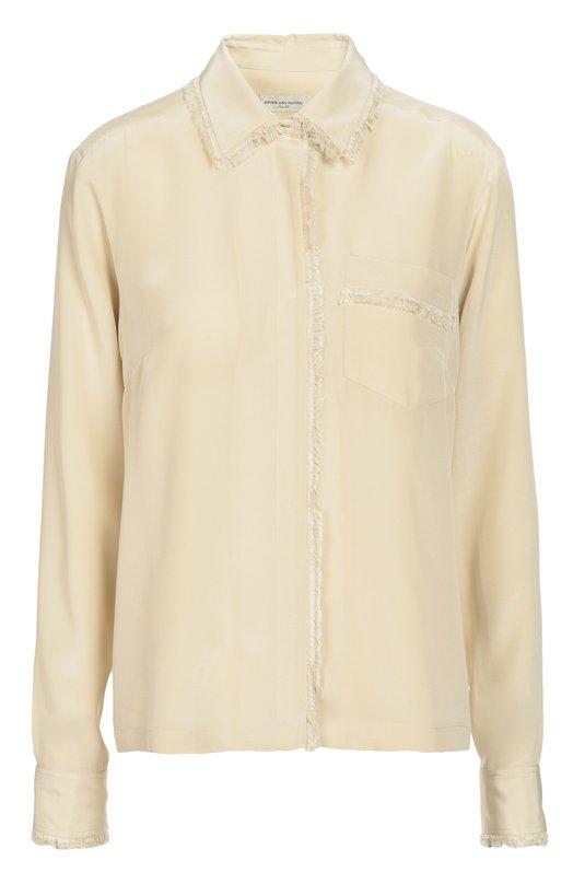 Шелковая блуза с бахромой и накладным карманом Dries Van NotenБлузы<br>Дрис ван Нотен включил в осенне-зимнюю коллекцию 2016 года кремовую блузу прямого кроя, сшитую из тонкого гладкого шелка. Манжеты длинных рукавов, отложной воротник, нагрудный карман и планка с потайными кнопками украшены бахромой в тон. Советуем носить с разноцветными брюками и бежевыми кедами.<br><br>Российский размер RU: 50<br>Пол: Женский<br>Возраст: Взрослый<br>Размер производителя vendor: 42<br>Материал: Шелк: 100%;<br>Цвет: Кремовый