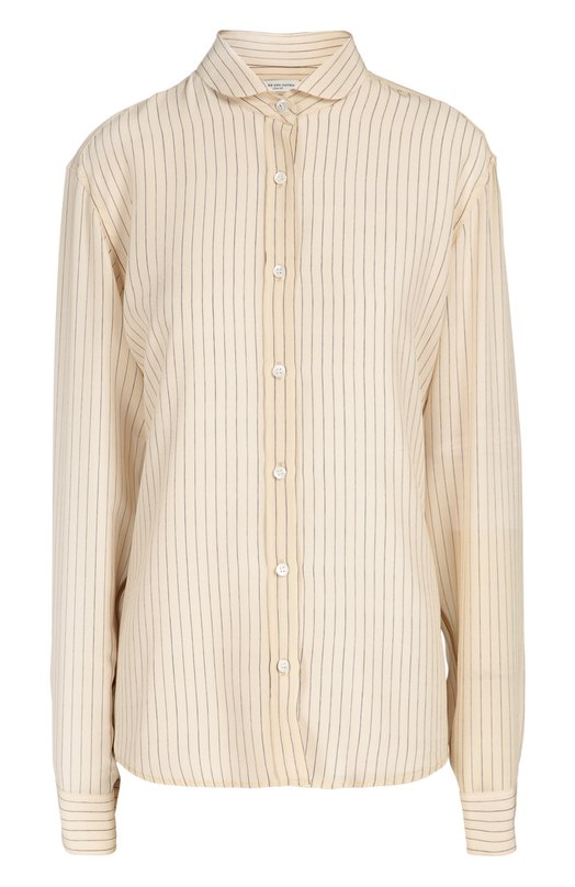Шелковая блуза прямого кроя в полоску Dries Van NotenБлузы<br>Кремовая рубашка прямого кроя, с длинными рукавами и отложным воротником вошла в коллекцию сезона осень-зима 2016 года. Дрис ван Нотен выбрал для создания модели тонкий гладкий шелк в полоску. Наши стилисты рекомендуют носить с черными брюками, пальто цвета хаки, белыми туфлями и серой сумкой.<br><br>Российский размер RU: 46<br>Пол: Женский<br>Возраст: Взрослый<br>Размер производителя vendor: 38<br>Материал: Шелк: 100%;<br>Цвет: Кремовый