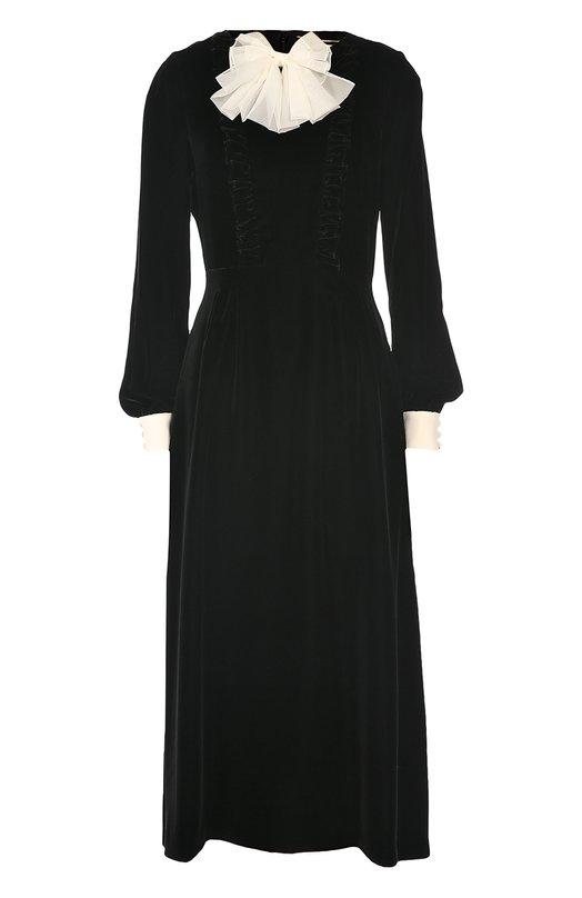 Бархатное платье-рубашка с контрастным бантом Saint Laurent 437168/Y025W
