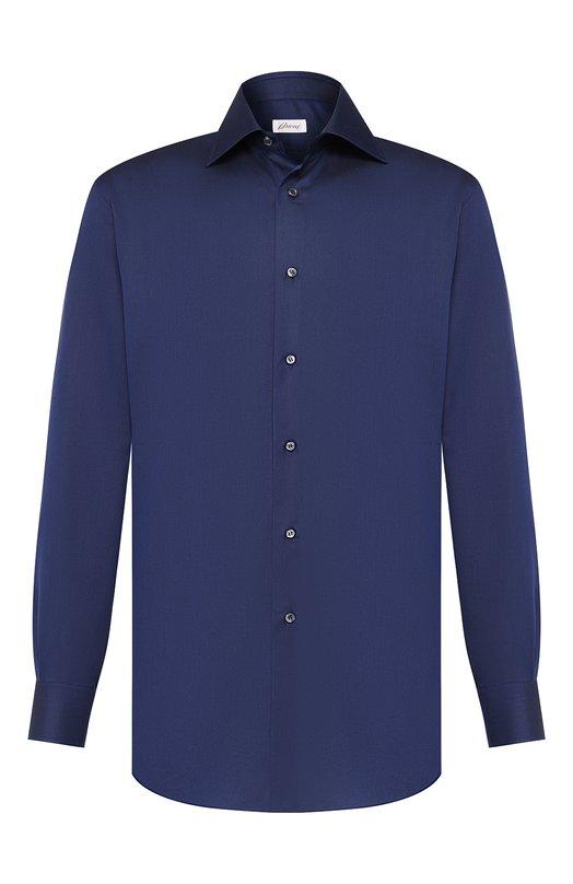 Классическая сорочка из смеси хлопка и шелка BrioniРубашки<br>Синяя рубашка с воротником кент сшита из фактурного хлопка с шелковыми волокнами. Модель вошла в коллекцию сезона осень-зима 2016 года. Рекомендуем надевать с галстуком в полоску, серым пиджаком, темными брюками и светло-коричневыми монками.<br><br>Российский размер RU: 54<br>Пол: Мужской<br>Возраст: Взрослый<br>Размер производителя vendor: 43<br>Материал: Хлопок: 60%; Шелк: 40%;<br>Цвет: Темно-синий
