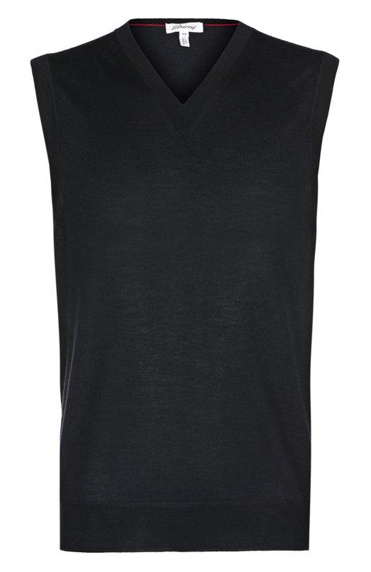 Жилет из смеси кашемира и шелка BrioniЖилеты<br>Жилет с V-образным вырезом произведен из тонкого мягкого кашемира с шелковыми волокнами. Модель вошла в осенне-зимнюю коллекцию 2016 года. Наши стилисты рекомендуют сочетать со светлой рубашкой, серым пиджаком, темными брюками и коричневыми дерби.<br><br>Российский размер RU: 58<br>Пол: Мужской<br>Возраст: Взрослый<br>Размер производителя vendor: 56<br>Материал: Кашемир: 70%; Шелк: 30%;<br>Цвет: Темно-синий