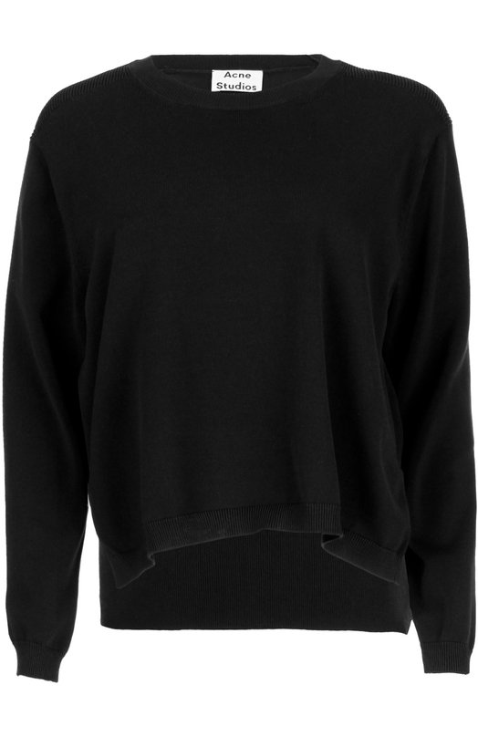 Хлопковый пуловер с разрезами и круглым вырезом Acne StudiosСвитеры<br><br><br>Российский размер RU: 42<br>Пол: Женский<br>Возраст: Взрослый<br>Размер производителя vendor: S<br>Материал: Хлопок: 63%; Нейлон: 37%;<br>Цвет: Синий