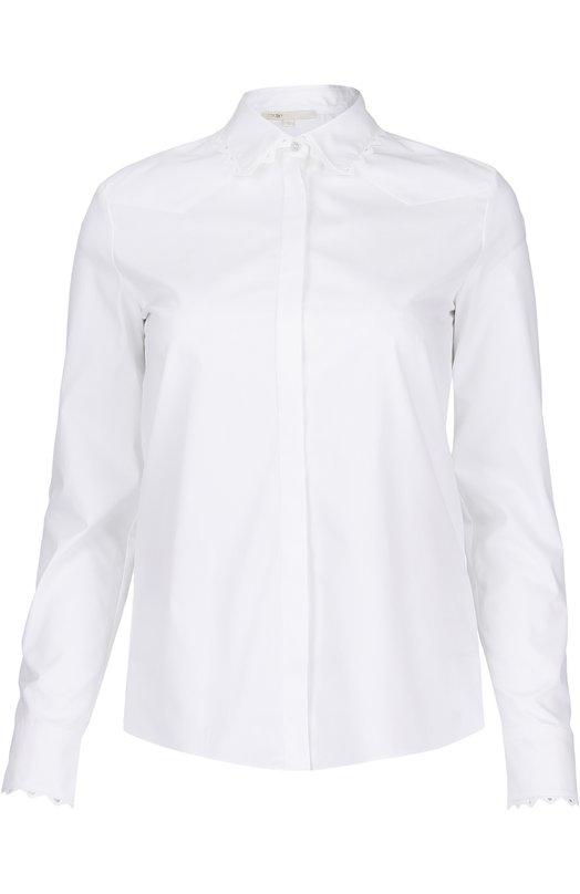 Хлопковая блуза прямого кроя с кружевной отделкой Maje E16CIGALEWHITE