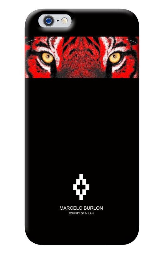 Чехол Alicura для iPhone 6/6s Marcelo BurlonЧехлы для iPhone<br>Чехол Alicura для iPhone 6/6s произведен из высокопрочного поликарбоната черного цвета. Аксессуар из осенне-зимней коллекции 2016 года декорирован ярким принтом в виде морды тигра и логотипом бренда.<br><br>Пол: Женский<br>Возраст: Взрослый<br>Размер производителя vendor: NS<br>Материал: Пластик: 100%;<br>Цвет: Бесцветный