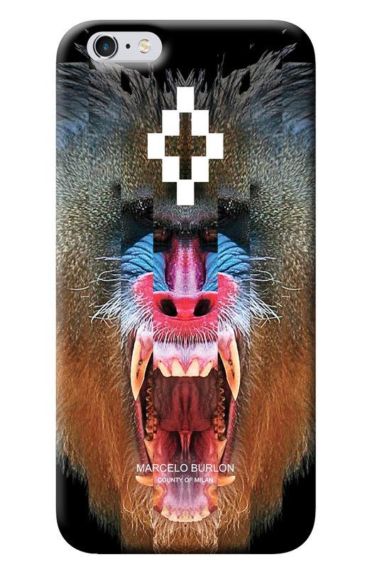Чехол Samir для iPhone 6/6s Marcelo BurlonЧехлы для iPhone<br>Марчело Бурлон включил в осенне-зимнюю коллекцию 2016 года черный чехол для iPhone 6/6s из матового прочного пластика. Разноцветное изображение в виде обезьяны нанесено на модель Samir при помощи современных технологий печати, защищающих принт от выцветания.<br><br>Пол: Женский<br>Возраст: Взрослый<br>Размер производителя vendor: NS<br>Материал: Пластик: 100%;<br>Цвет: Бесцветный