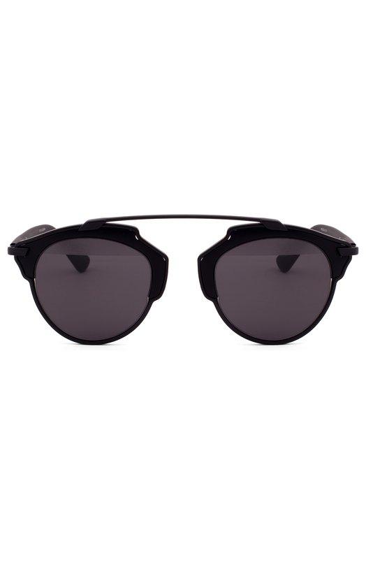 Солнцезащитные очки DiorОчки<br>Солнцезащитные очки Dior So Real в черной оправе из тонкого металла и термостойкого ацетата дополнены полузеркальными линзами с максимальным затемнением. Аксессуар с гибкими прорезиненными дужками вошел в осенне-зимнюю коллекцию 2016 года.<br><br>Пол: Женский<br>Возраст: Взрослый<br>Размер производителя vendor: NS<br>Цвет: Черный