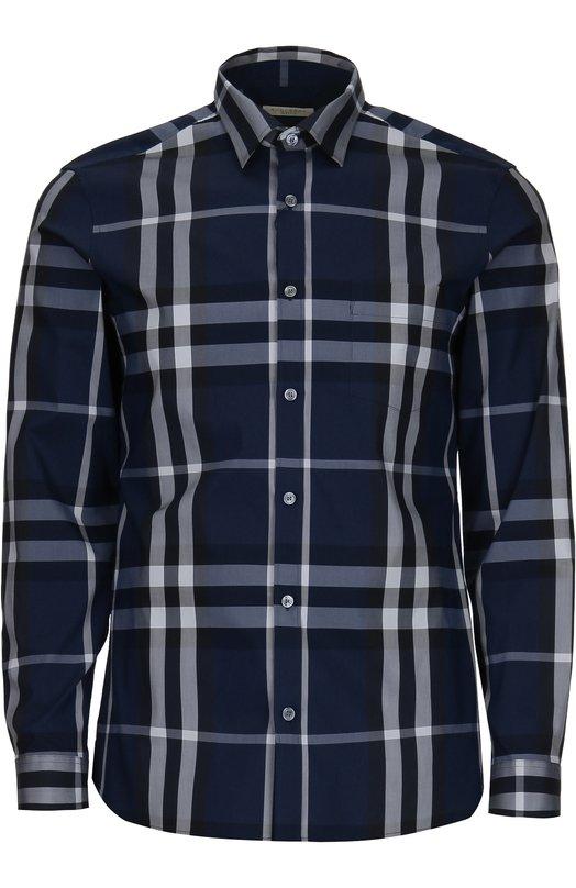 Рубашка в клетку из эластичного хлопка Burberry 3983541