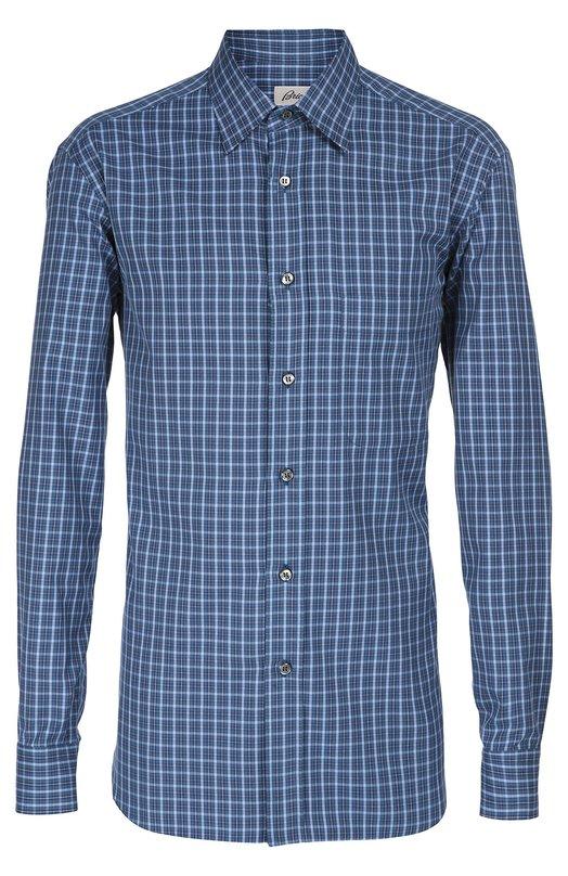 Купить Хлопковая рубашка в клетку Brioni, SC09/05047, Италия, Синий, Хлопок: 100%;
