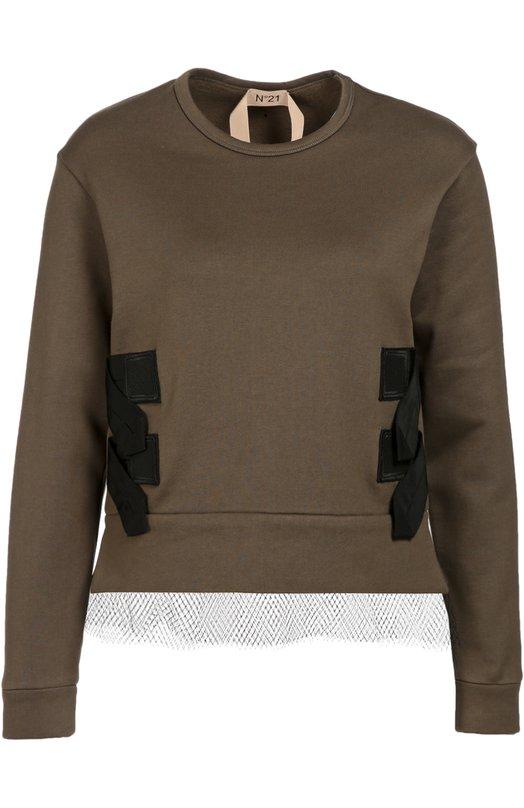 Хлопковый укороченный свитшот с кружевной вставкой No. 21Свитеры<br>Свитшот из мягкого хлопка цвета хаки вошел в коллекцию сезона осень-зима 2016 года. Алессандро Дель Аква декорировал изделие широкими контрастными ремешками по бокам и тонкой черной вуалью снизу. Нам нравится сочетать с юбкой-карандаш в тон, темными босоножками и небольшой сумкой.<br><br>Российский размер RU: 44<br>Пол: Женский<br>Возраст: Взрослый<br>Размер производителя vendor: 42<br>Материал: Хлопок: 100%; Отделка-полиамид: 100%;<br>Цвет: Хаки