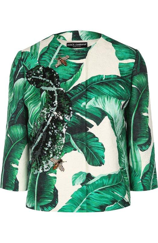 Жакет с укороченным рукавом, цветочным принтом и вышивкой Dolce & Gabbana 0102/F285CZ/FSMY7