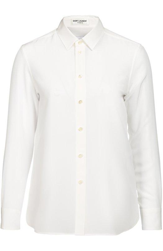 Шелковая блуза прямого кроя Saint LaurentБлузы<br>Белоснежная рубашка с отложным воротником и длинными рукавами вошла в коллекцию сезона осень-зима 2016 года. Мастера марки, основанной Ивом Сен-Лораном, сшили модель из тонкого шелкового крепа. Нам нравится сочетать с ярко-красным пиджаком, синими джинсами и золотистыми сабо.<br><br>Российский размер RU: 46<br>Пол: Женский<br>Возраст: Взрослый<br>Размер производителя vendor: 44<br>Материал: Шелк: 100%;<br>Цвет: Белый