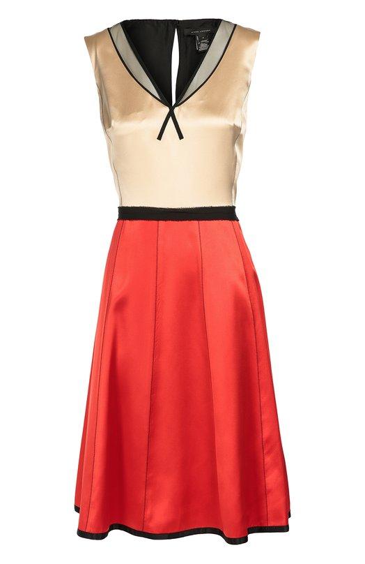 Шелковое приталенное платье без рукавов с контрастной отделкой Marc JacobsПлатья<br>Короткое платье с глубоким V-образным вырезом, без рукавов вошло в осенне-зимнюю коллекцию 2016 года. Марк Джейкобс выбрал для создания лифа гладкий атлас бежевого цвета, для расклешенного подола — ярко-красный, для отделки — черного. Изделие дополнено тонким поясом.<br><br>Российский размер RU: 42<br>Пол: Женский<br>Возраст: Взрослый<br>Размер производителя vendor: 4<br>Материал: Шелк: 100%; Подкладка-шелк: 100%; Полиэстер: 100%;<br>Цвет: Разноцветный
