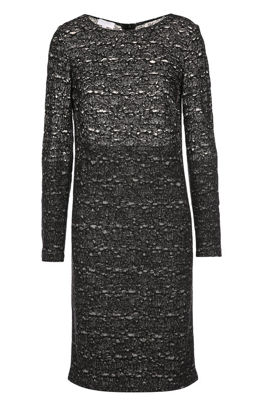 Буклированное платье прямого кроя с вырезом-лодочка Escada SportПлатья<br>Черное платье прямого кроя из коллекции сезона осень-зима 2016 года выполнено из эластичного текстиля с добавлением шерстяных нитей. Модель Datcha с длинными рукавами и вырезом-лодочкой застегивается сзади на молнию. Нам нравится сочетать с босоножками в тон и серебристым клатчем.<br><br>Российский размер RU: 46<br>Пол: Женский<br>Возраст: Взрослый<br>Размер производителя vendor: 38<br>Материал: Вискоза: 72%; Шерсть: 28%;<br>Цвет: Черный