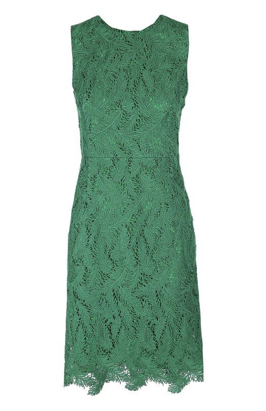 Приталенное кружевное платье без рукавов с круглым вырезом Emilio PucciПлатья<br>Мастера бренда, основанного Эмилио Пуччи, создали зеленое мини-платье без рукавов, с круглым вырезом из тонкого кружева с лиственным узором. Приталенная модель из осенне-зимней коллекции 2016 года застегивается сзади на пуговицу. Рекомендуем сочетать с босоножками и клатчем белого цвета.<br><br>Российский размер RU: 42<br>Пол: Женский<br>Возраст: Взрослый<br>Размер производителя vendor: 40<br>Материал: Подкладка-шелк: 91%; Подкладка-эластан: 9%; Хлопок: 85%; Полиэстер: 15%;<br>Цвет: Зеленый