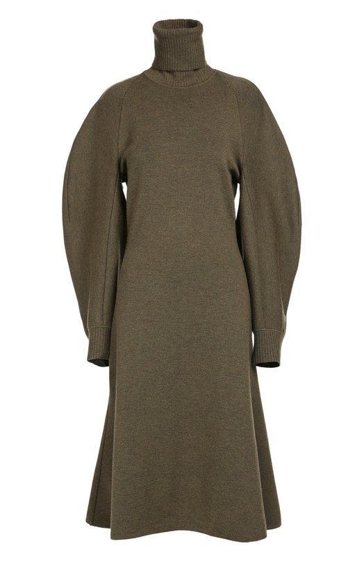 Шерстяное приталенное платье с широкими рукавами и высоким воротником Balenciaga 436287/T7136