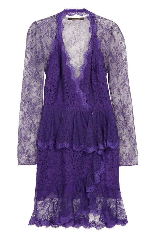 Кружевное полупрозрачное мини-платье Roberto CavalliПлатья<br>Фиолетовое мини-платье из тонкого кружева дополнено шелковой подкладкой в тон. Модель с прозрачными длинными рукавами и спинкой и глубоким V-образным вырезом вошла в осенне-зимнюю коллекцию марки, основанной Роберто Кавалли. Советуем носить с черными клатчем и босоножками на высоком каблуке.<br><br>Российский размер RU: 50<br>Пол: Женский<br>Возраст: Взрослый<br>Размер производителя vendor: 48<br>Материал: Полиамид: 70%; Хлопок: 46%; Вискоза: 43%; Подкладка-шелк: 100%;<br>Цвет: Фиолетовый