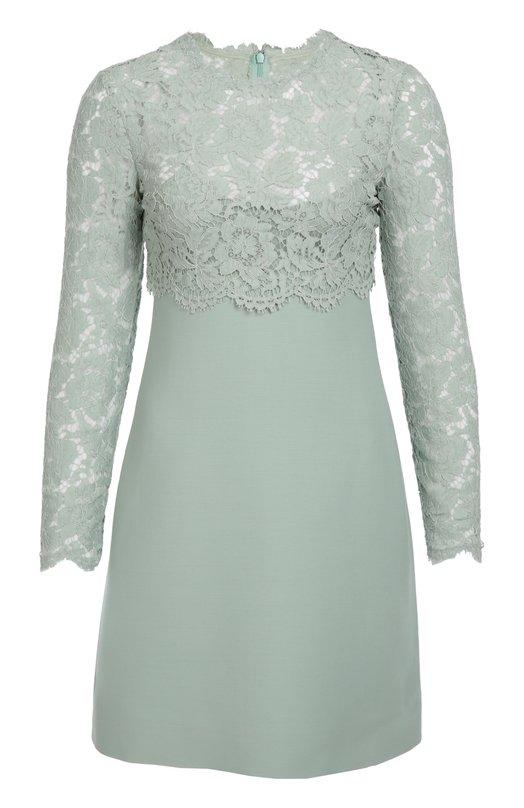 Приталенное мини-платье с кружевной вставкой Valentino LB3VA8X6/1EC