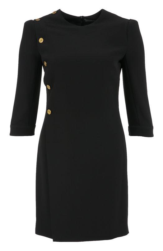 Приталенное мини-платье с укороченным рукавом и декоративной отделкой Alexander McQueenПлатья<br>Приталенное черное мини-платье с запахом и длинными рукавами вошло в осенне-зимнюю коллекцию 2016 года. Модель в стиле милитари из плотного гладкого крепа декорирована золотистыми пуговицами. Изделие застегивается на потайную молнию сзади. Рекомендуем сочетать с темными туфлями и бежевой сумкой.<br><br>Российский размер RU: 42<br>Пол: Женский<br>Возраст: Взрослый<br>Размер производителя vendor: 40<br>Материал: Вискоза: 50%; Ацетат: 50%; Подкладка-шелк: 100%;<br>Цвет: Черный