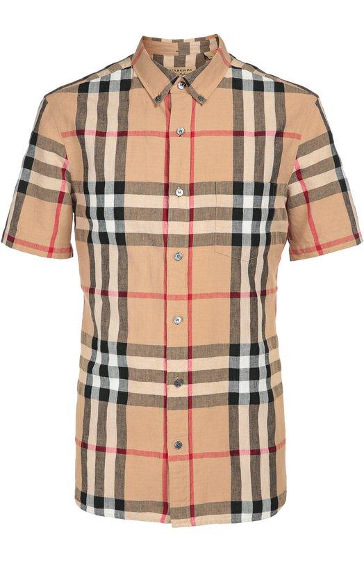 Купить Рубашка из смеси льна и хлопка Burberry, 4015428, Таиланд, Бежевый, Лен: 53%; Хлопок: 47%;