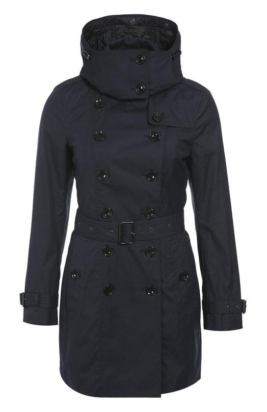 Купить Утепленное двубортное пальто с поясом и капюшоном Burberry, 3973569, Китай, Светло-серый, Хлопок: 100%; Подкладка-хлопок: 100%;
