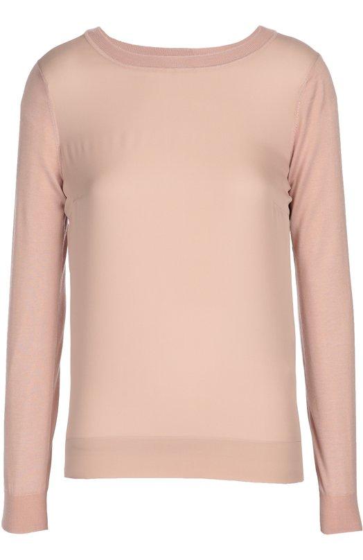 Топ прямого кроя с круглым вырезом и длинным рукавом Ralph LaurenТопы<br>Ральф Лорен включил в коллекцию сезона осень-зима 2016 года розовый пуловер с круглым вырезом и длинными рукавами. Модель прямого кроя выполнена из тонкого шелкового трикотажа. Нам нравится сочетать с брюками в тон, серебристыми сабо и серой сумкой.<br><br>Российский размер RU: 42<br>Пол: Женский<br>Возраст: Взрослый<br>Размер производителя vendor: S<br>Материал: Кашемир: 69%; Шелк: 100%; Полиамид: 1%;<br>Цвет: Розовый