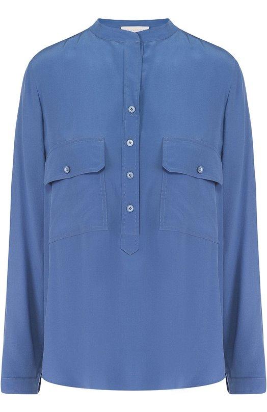 Шелковая блуза с накладными карманами и воротником-стойкой Stella McCartneyБлузы<br>В коллекцию сезона осень-зима 2016 года вошла блуза из тонкого шелкового крепдешина голубого цвета. Стелла Маккартни дополнила модель двумя нагрудными карманами с клапанами. Изделие с длинными рукавами и воротником-стойкой застегивается спереди на четыре пуговицы.<br><br>Российский размер RU: 42<br>Пол: Женский<br>Возраст: Взрослый<br>Размер производителя vendor: 40<br>Материал: Шелк: 100%;<br>Цвет: Голубой