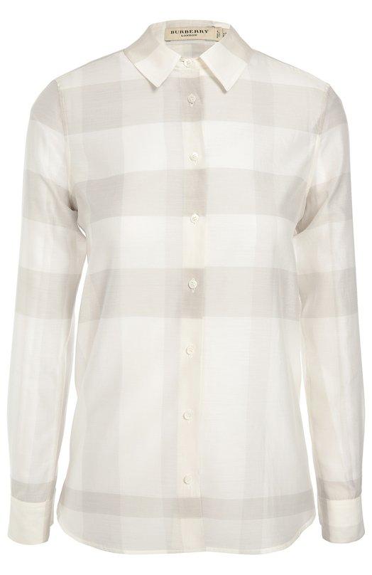 Хлопковая блуза прямого кроя в клетку BurberryБлузы<br>В осенне-зимнюю коллекцию бренда, основанного Томасом Берберри, вошла белая однотонная рубашка. Для производства модели был использован полупрозрачный хлопок с принтом Smoked cheek. Изделие и манжеты застегиваются на перламутровые пуговицы. Советуем сочетать с черной сумкой, брюками и сабо в тон.<br><br>Российский размер RU: 40<br>Пол: Женский<br>Возраст: Взрослый<br>Размер производителя vendor: 6<br>Материал: Хлопок: 70%; Шелк: 30%;<br>Цвет: Светло-бежевый