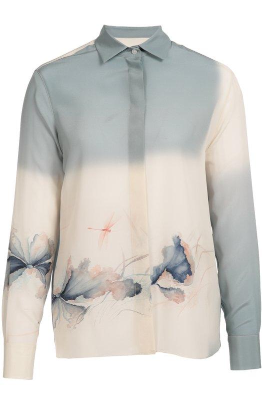 Шелковая блуза прямого кроя с цветочным принтом ValentinoБлузы<br>Светло-голубая блуза вошла в коллекцию сезона осень-зима 2016 года. Мария Грация Кьюри и Пьерпаоло Пиччоли украсили модель из тонкого шелка цветочным акварельным рисунком. Изделие с длинными рукавами и отложным воротником застегивается на потайные пуговицы.<br><br>Российский размер RU: 48<br>Пол: Женский<br>Возраст: Взрослый<br>Размер производителя vendor: 46<br>Материал: Шелк: 100%;<br>Цвет: Светло-голубой