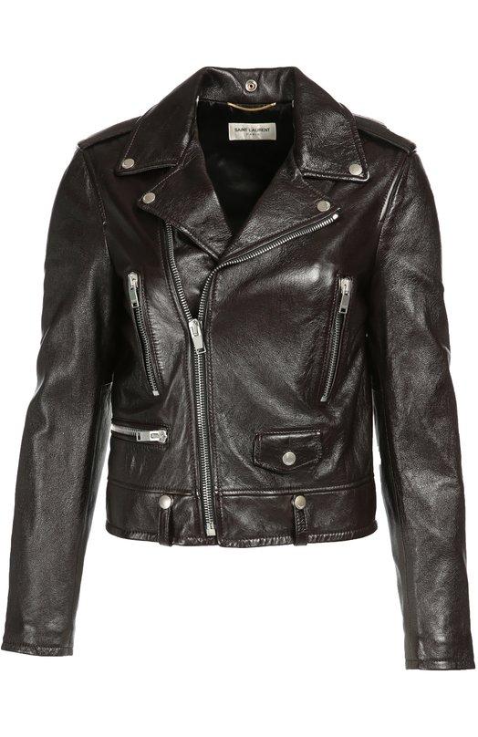 Укороченная кожаная куртка с косой молнией Saint Laurent 397287/YC2AM