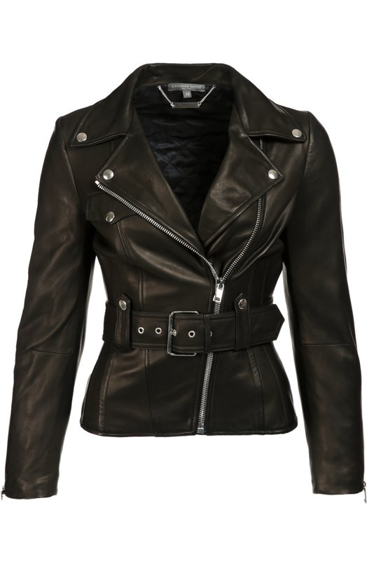 Приталенная кожаная куртка с косой молнией Alexander McQueenКуртки<br>В осенне-зимнюю коллекцию бренда, основанного Александром Маккуином, вошла черная приталенная косуха из мягкой матовой кожи. Куртка дополнена широким поясом с пряжкой. Рекомендуем сочетать с белой рубашкой, черными брюками со стрелками и босоножками.<br><br>Российский размер RU: 40<br>Пол: Женский<br>Возраст: Взрослый<br>Размер производителя vendor: 38<br>Материал: Кожа натуральная: 100%; Подкладка-вискоза: 100%;<br>Цвет: Черный