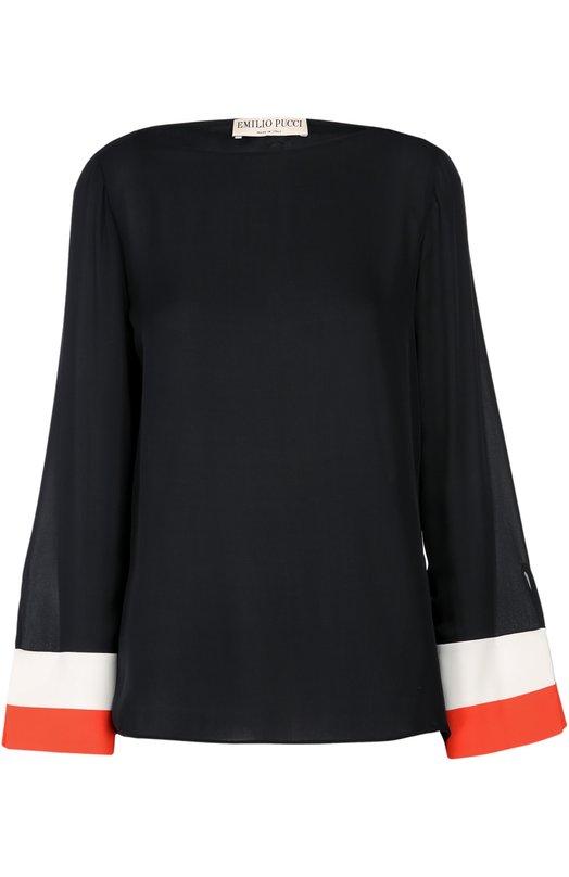 Шелковая блуза с вырезом-лодочка и контрастной отделкой Emilio Pucci 66/RN18/66669