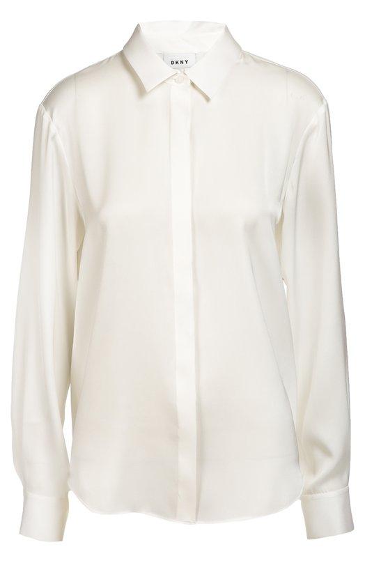 Шелковая блуза прямого кроя DKNYБлузы<br>В коллекцию сезона осень-зима 2016 года вошла рубашка прямого кроя. Модель сшита из мягкого белого шелка. Наши стилисты советуют носить с темными джинсами, черным укороченным жакетом и босоножками к нему в тон.<br><br>Российский размер RU: 48<br>Пол: Женский<br>Возраст: Взрослый<br>Размер производителя vendor: L<br>Материал: Шелк: 93%; Эластан: 7%;<br>Цвет: Белый