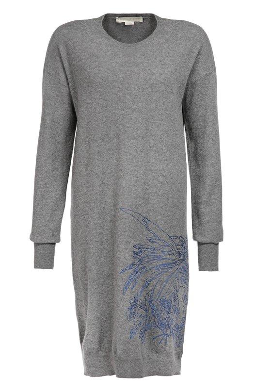 Шерстяное платье свободного кроя с вышивкой Stella McCartneyПлатья<br>В осенне-зимнюю коллекцию 2016 года Стелла Маккартни включила платье свободного кроя из мягкого шерстяного трикотажа. Модель украшена узором, вышитым синей нитью. Наши стилисты рекомендуют сочетать с темно-синими кроссовками на платформе и сумкой в тон декора.<br><br>Российский размер RU: 46<br>Пол: Женский<br>Возраст: Взрослый<br>Размер производителя vendor: 38<br>Материал: Шерсть: 100%; Отделка-вискоза: 100%;<br>Цвет: Серый