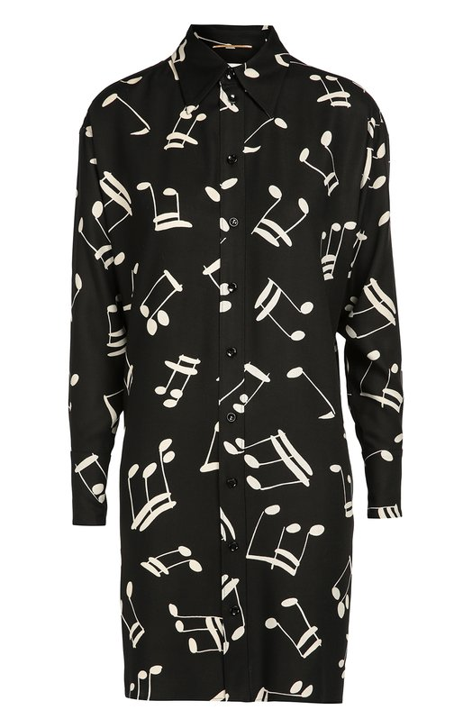 Платье-рубашка прямого кроя с контрастным принтом Saint LaurentПлатья<br>В осенне-зимнюю коллекцию марки, основанной Ивом Сен-Лораном, вошло платье-рубашка прямого кроя. Модель сшита из мягкой вискозы с контрастным принтом в виде нот. Наши стилисты советуют носить с черными балетками и красной сумкой.<br><br>Российский размер RU: 48<br>Пол: Женский<br>Возраст: Взрослый<br>Размер производителя vendor: 42<br>Материал: Вискоза: 100%;<br>Цвет: Черно-белый