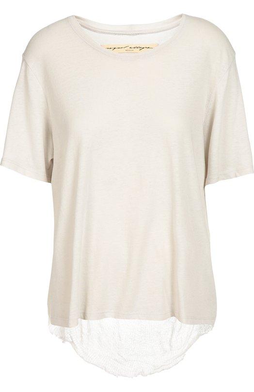 Футболка с полупрозрачной вставкой на спинке Raquel AllegraФутболки<br>Ракель Аллегра включила в осенне-зимнюю коллекцию 2016 года белую футболку прямого кроя, с короткими рукавами и круглым вырезом. Модель из тонкого, приятного на ощупь текстиля дополнена сзади полупрозрачной вставкой из марлевки. Попробуйте сочетать с голубыми джинсами, черными босоножками и сумкой.<br><br>Российский размер RU: 44<br>Пол: Женский<br>Возраст: Взрослый<br>Размер производителя vendor: 2<br>Материал: Хлопок: 50%; Полиэстер: 50%;<br>Цвет: Белый