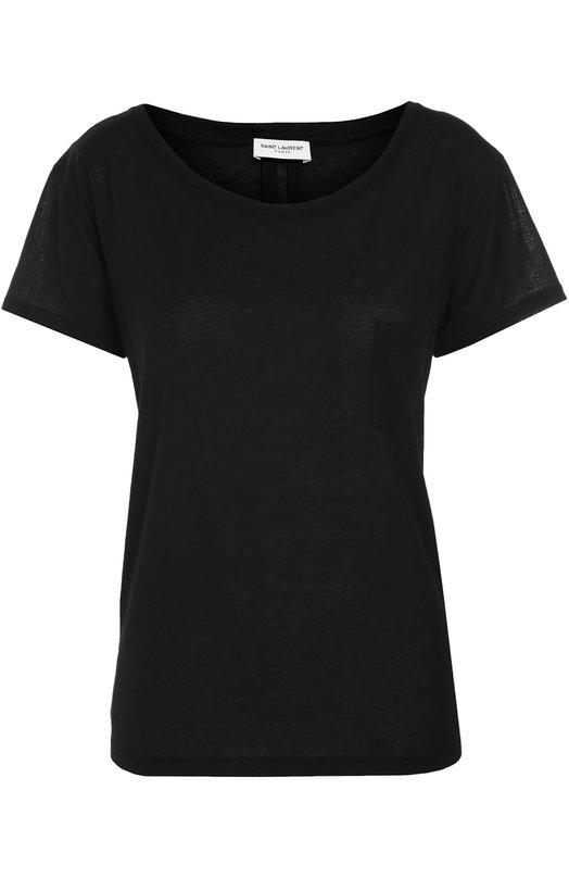 Хлопковая футболка прямого кроя с круглым вырезом Saint LaurentФутболки<br>Черная футболка прямого кроя, с короткими рукавами и круглым вырезом сшита из тонкого хлопкового джерси. Модель с одним нагрудным карманом вошла в осенне-зимнюю коллекцию марки, основанной Ивом Сен-Лораном. Советуем носить с джинсами и сумкой в тон, клетчатой рубашкой и серыми кедами.<br><br>Российский размер RU: 44<br>Пол: Женский<br>Возраст: Взрослый<br>Размер производителя vendor: M<br>Материал: Хлопок: 100%;<br>Цвет: Черный