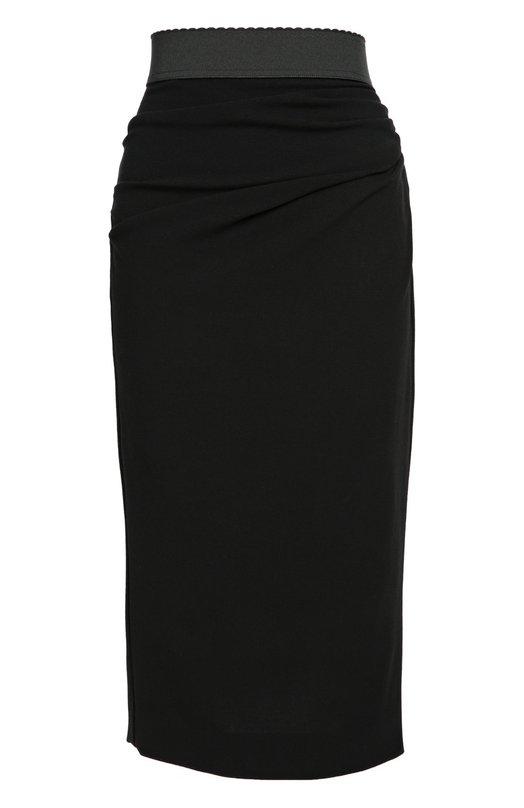 Юбка-карандаш с широким контрастным поясом Dolce &amp; GabbanaЮбки<br>Доменико Дольче и Стефано Габбана включили в осенне-зимнюю коллекцию 2016 года черную юбку-карандаш с широким поясом-резинкой. Модель с драпировкой на бедрах сшита из эластичной тонкой шерсти. Рекомендуем носить с зеленым кроп-топом, сумкой в тон и белыми сабо.<br><br>Российский размер RU: 44<br>Пол: Женский<br>Возраст: Взрослый<br>Размер производителя vendor: 42<br>Материал: Полиамид: 9%; Шерсть: 86%; Эластан: 5%;<br>Цвет: Черный
