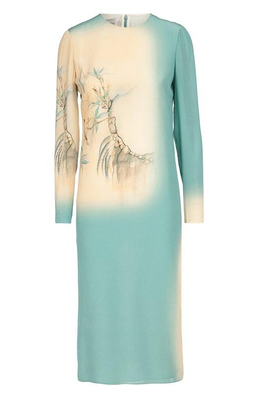 Шелковое платье прямого кроя с принтом ValentinoПлатья<br>Светло-голубое приталенное платье с длинными рукавами и круглым вырезом выполнено из тонкого шелка, окрашенного в технике деграде. Модель вошла в осенне-зимнюю коллекцию бренда, основанного Валентино Гаравани. Наши стилисты рекомендуют сочетать с розовыми босоножками на шпильке.<br><br>Российский размер RU: 44<br>Пол: Женский<br>Возраст: Взрослый<br>Размер производителя vendor: 42<br>Материал: Подкладка-шелк: 91%; Подкладка-эластан: 9%; Шелк: 100%;<br>Цвет: Светло-голубой