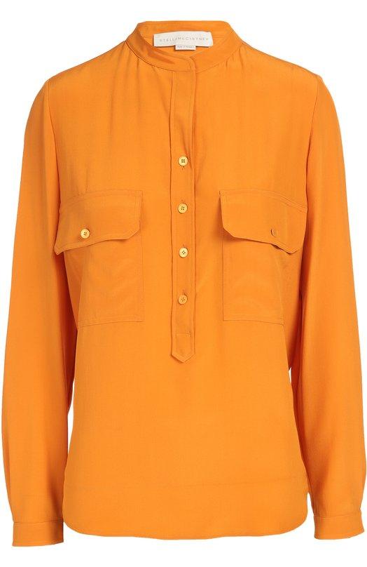 Шелковая блуза с накладными карманами и воротником-стойкой Stella McCartneyБлузы<br>Для создания блузы с длинными рукавами и воротником-стойкой Стелла Маккартни выбрала мягкий шелк оранжевого цвета. Модель из коллекции осень-зима 2016 года дополнена двумя накладными карманами с клапанами. Попробуйте сочетать с голубыми джинсами, бежевыми туфлями на высокой шпильке и белой сумкой.<br><br>Российский размер RU: 46<br>Пол: Женский<br>Возраст: Взрослый<br>Размер производителя vendor: 44<br>Материал: Шелк: 100%;<br>Цвет: Оранжевый