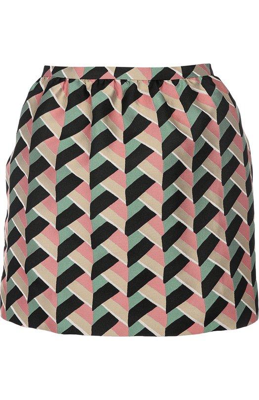 Мини-юбка с контрастным графичным принтом REDVALENTINOЮбки<br>Для создания мини-юбки использован мягкий жаккард с разноцветным геометрическим принтом Baskin Weave, характерным для осенне-зимней коллекции 2016 года. Модель застегивается сзади на молнию. Нам нравится носить с джемпером, туфлями и сумкой черного цвета.<br><br>Российский размер RU: 40<br>Пол: Женский<br>Возраст: Взрослый<br>Размер производителя vendor: 38<br>Материал: Полиэстер: 100%;<br>Цвет: Разноцветный
