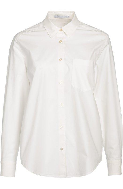 Хлопковая блуза прямого кроя с накладным карманом T by Alexander Wang 403316P