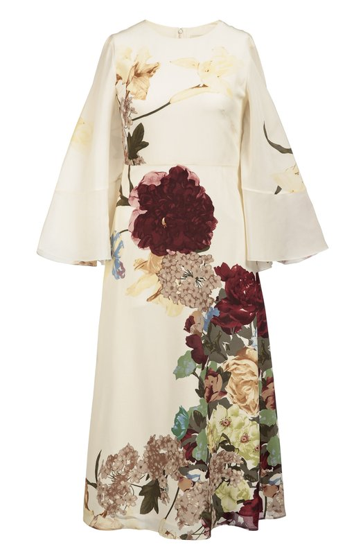 Шелковое платье с цветочным принтом и кейпом ValentinoПлатья<br>Платье с длинными расклешенными рукавами и накидкой сшито из тонкого кремового шелка. Рисунок Kimono создан на основе архивного принта, впервые использованного Валентино Гаравани в 1997 году. Модель с завышенной талией вошла в осенне-зимнюю коллекцию 2016 года.<br><br>Российский размер RU: 42<br>Пол: Женский<br>Возраст: Взрослый<br>Размер производителя vendor: 40<br>Материал: Подкладка-шелк: 91%; Подкладка-эластан: 9%; Шелк: 100%;<br>Цвет: Кремовый