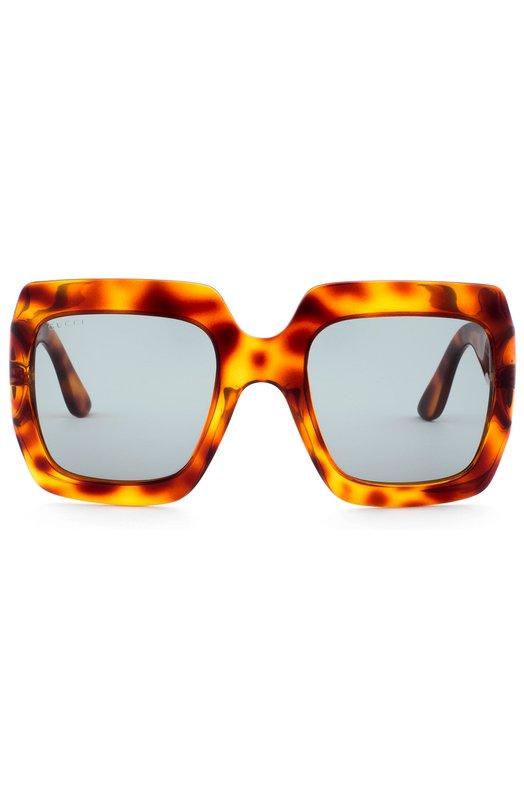 Солнцезащитные очки GucciОчки<br>В осенне-зимнюю коллекцию 2016 года вошли солнцезащитные очки в квадратной оправе, выполненной из прочного термостойкого ацетата черепаховой расцветки. Затемненные серые стекла украшены логотипом бренда, широкие дужки — позолоченной GG-монограммой, составленной из инициалов Гуччио Гуччи.<br><br>Пол: Женский<br>Возраст: Взрослый<br>Размер производителя vendor: NS<br>Цвет: Оранжевый
