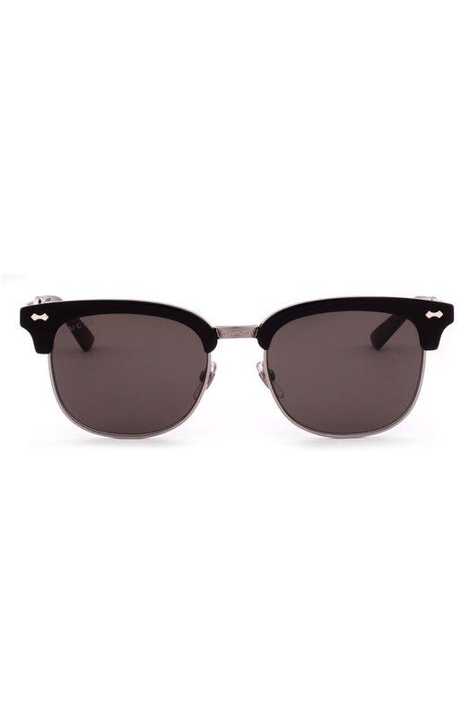 Солнцезащитные очки GucciОчки<br>Солнцезащитные очки с тонкими дужками вошли в осенне-зимнюю коллекцию 2016 года. Для производства модели была использована комбинация прочного металла и черного глянцевого ацетата. Коричневые затемненные стекла на 100% блокируют ультрафиолетовое и инфракрасное излучение.<br><br>Пол: Женский<br>Возраст: Взрослый<br>Размер производителя vendor: NS<br>Цвет: Черный